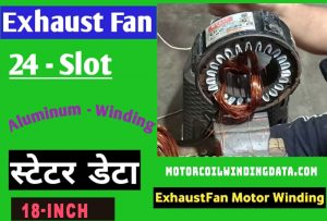 Exhaust Fan Motor Winding Data 24 Slot 1440 Rpm.