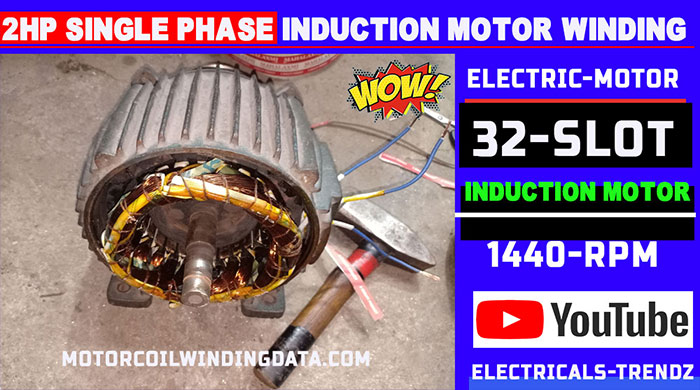 2Hp Single Phase Induction Motor Winding |2Hp Electric Motor |Electric Motor|2 Hp Ac Motor by Technical Topic.2Hp1400 Rpm 32 Slot.