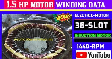 1.5 Hp Motor Winding Data|1.5Hp 1440 Rpm 36 Slot Motor Winding.