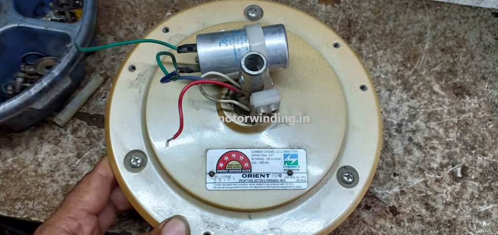 Ceiling fan capacitor value by motor winding.in